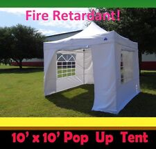 10'x10' Pop Up Canopy Party Tent - White - Fire Retardant - F Model