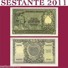 ITALIA, ITALY,  50 LIRE ITALIA ELMATA,   BOLAFFI  31.12. 1951,  P 91a FDS/UNC