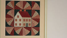 Framed ELSA WILLIAMS Needlepoint SCHOOL HOUSE QUILT Picture/Pillow 13x13 JCA New