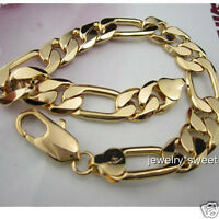 "24k Yellow Gold Filled Mens Bracelet 9""/12mm Solid Figaro Curb Link Chain"