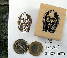 P93 C3PO robot rubber stamp wm