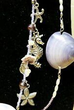 "pearls, glass beads necklace Pendant 28"" Nautical purple sea shells, fresh water"