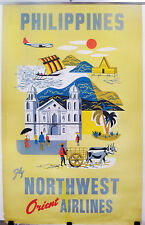 ORIGINAL Vintage Travel Poster NORTHWEST AIRLINES Philippines BAGUIO CATHEDRAL