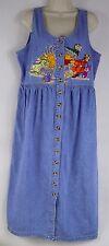 Disney Winnie the Pooh Women's L Jean Dress, Sleeveless Embroidered Button Down