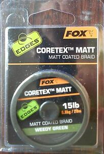 FOX EDGES CORETEX MATT, MATT COATED BRAID 15lb WEEDY GREEN CAC429 20 METRES