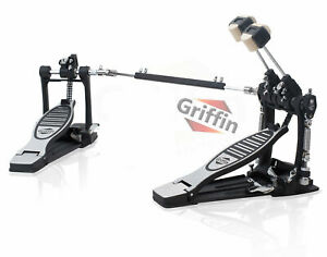 GRIFFIN Double Kick Drum Pedal - Twin Foot Bass Dual Chain Percussion Hardware