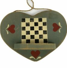 Wall Hanging Vintage Primitive Hand Crafted Wood Heart Shelf Checkerboard Hearts