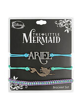 Disney Little Mermaid Ariel Charm Faux Beads Cord Bracelet 3 Pack Arm Party NEW
