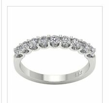 1.01 Ct. 9 Stones Vs1 F New! Diamond Wedding Band Ring 14k Wg Genuine