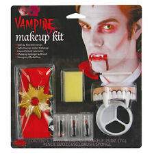 Vampire Dracula Complete Makeup FX Kit Halloween Costume Accessory & Fangs