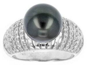 Cultured Tahitian Pearl With White Zircon Rhodium Over Sterling Silver Ring
