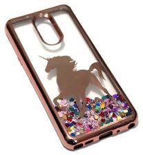 For LG Stylo 4 - Rose Gold Unicorn Pink Glitter Rainbow Hearts Liquid Case Cover