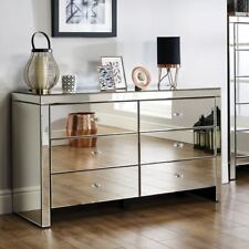 Seville Mirrored Wide Bedroom Chest of Drawers with 6 Large Storage Drawers