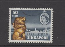 SINGAPORE 1959 50c SLATE, YELLOW & SEPIA NEW CONSTITUTION Nice Used