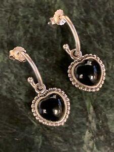 Pandora 290532ON Mi Amor Heart Sterling Black Onyx Earrings Authentic Rare