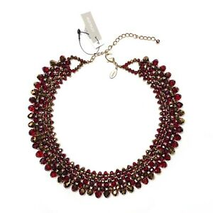NEW Chicos Beads Glass Collar Statement Necklace Ruby Red Gold Artsy  Pomegranat