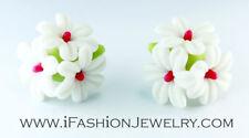Cute Handmade White Lime Lemon Flower Blossom Bouquet Clay Stud Earrings Jewelry