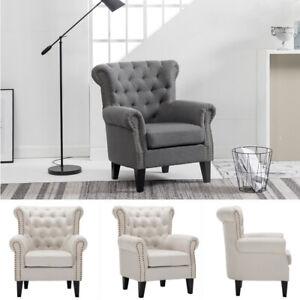 Retro Fabric Armchair Studs Cottonlinen Surface Sofa Accent Chair Wooden Legs UK