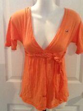 NWT Women's Hollister AE Bettys Peach Melon Top Wrap Tie Shirt $29 XS, New!!