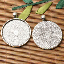 2pcs dark silver color  textured  round cabochon setting in 35mm EF3136