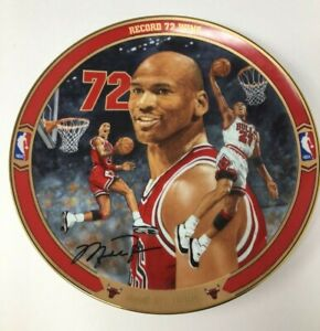 1996 MICHAEL JORDAN CHICAGO BULLS BASKETBALL UPPER DECK RECORD 72 WINS PLATE