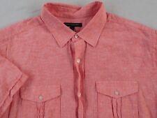 Banana republic Men's Linen Blend S/S Button Down peach Dress Shirt - Size XL