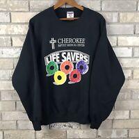 Vintage 90s Life Savers Mens XL USA Made Sweatshirt Black Jerzees Baptist God OG