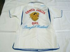 70's Armed Forces Bowling Shirt Bangkok Thailand O.W.C. Small? 7A3
