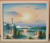 "Oil Painting Florida Seascape, Lighthouse, Water, Seagulls, Framed 22"" x 26"""