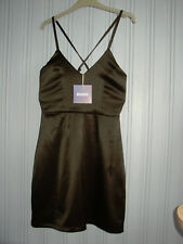 Missguided UK 6 EU 34 Little Black Satin Strappy Shift Short Dress Party