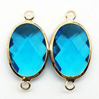 2Pcs Wrapped Faceted Sky Blue Crystal Oval 25x13x6mm Pendant Bead DW62