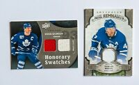 DOUG GILMOUR MORGAN RIELLY UPPER DECK GAME USED JERSEY CARD LOT OF 2 MAPLE LEAFS