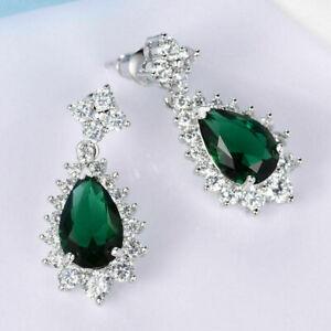 18K White Gold White and Emerald Green Stone Cluster Dangle Earrings 314