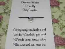 Key Worker Christmas Wishes Wish Bracelet Gift Tibetan Apple Charm Anklet