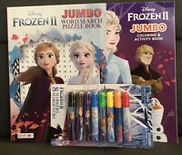 New Disney Frozen II Gift Set Jumbo Coloring Book Activity Word Search & Markers