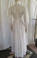 Antique-Edwardian-Cotton- Tea-Dress-Swiss-Dot-Pin Tuck-Lace-Bridal-Vtg Wedding