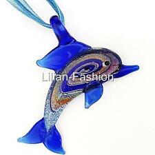 Blue Dolphin Animal Lampwork Glass Murano Bead Pendant Ribbon Cord Necklace