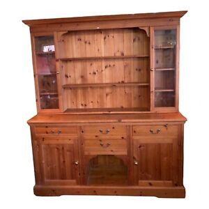 Large Pine Dresser 4 Drawers 2 Cupboards With Shelves And 2 Glazed Cupboards