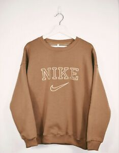 Vintage Nike 90's Embroidered Spell Out Sweatshirt In Brown