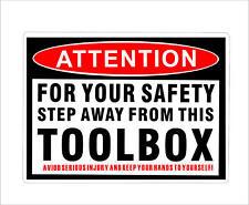 Funny Toolbox Warning Decal Sticker Tool Box Hard Hat Helmet Vinyl Car Decor