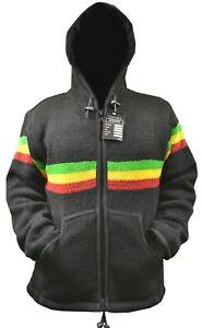 RASTA INSPIRED Handmade in nepal Fleece Lined Winter unisex thick woolen Jacket