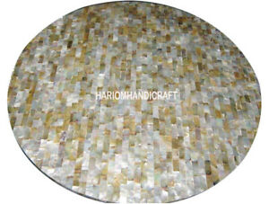 "12"" Precious Abalone Stones Marble Coffee TAble Top Mosaic Inlaid Decors H3009"