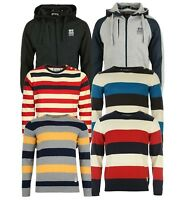Mens Hooded Jumper Crosshatch Branded Crew Neck Knitted Stripey Sweater Tops