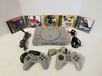 Sony PlayStation PS1 Gray Console System With 2 Controllers & 5 Games ( Tested )