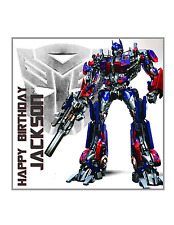 TRANSFORMERS Square Edible Image Personalised Birthday Decoration Party Topper