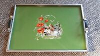 Antique Art Deco Wooden Serving Tray Poppies, Bird and Water Scene Under Glass