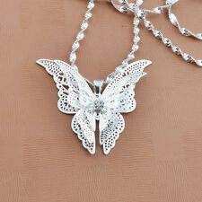Women Lady Girl Silver Plated Cute Butterfly Necklace Pendant Newly