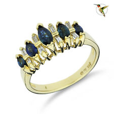 in 14k Solid Yellow Gold #2520 Blue Sapphire and Diamond Fashion Ring Set