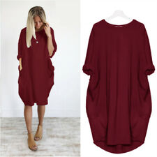 Women Summer Mid Sleeve Crew Neck Midi Dress Solid Casual Pocket Loose Sundress