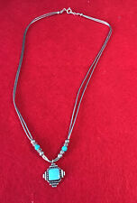 Vintage 925 Silver Turquoise Pendant/ Necklace / 18 Inches Long